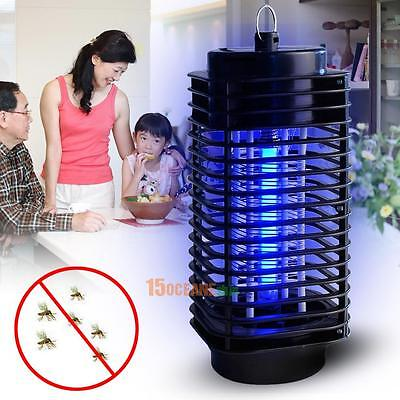 Electric Flying Insect Killer Grill Mosquito Pest Fly Bug Zapper W/ Blue Lamp