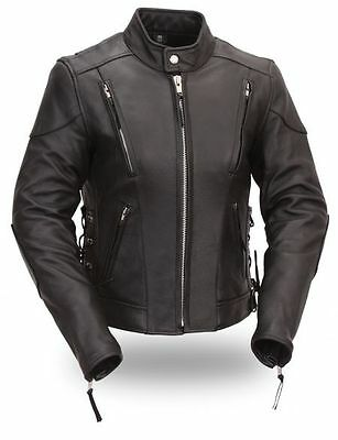 Women Motorcycle Motorbike CE Approved Armour Biker Racing Leather Jacket