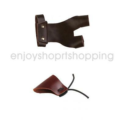 Professional Leather Archery Hunting Thumb Finger Protector Guard + Gloves