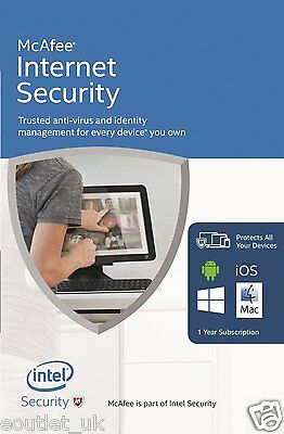 McAfee Internet Security 2016/2017 1 Year UNLIMITED User PC Anti Virus Software