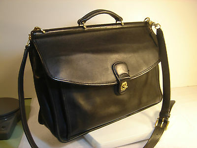 Classic COACH ~Beekman~ Black Leather BRIEFCASE w/ Shoulder Strap