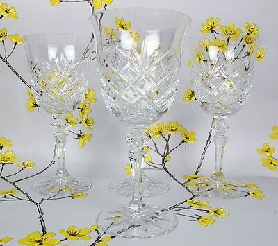 "Vintage 4 Very Tall Cut Crystal Glass GALWAY GOBLETS. Wine or water. 7 3/4"" high"