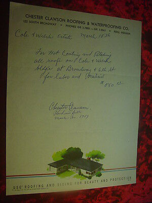1957 Chester Clawson Roofing & Waterproofing Co. Letter To Cole & Welsh Estate