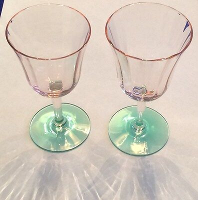 Pair Of Watermelon Pink/green Glasses Stemmed Ribbed Sherry Aperitif