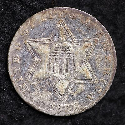 1858 Three Cent Silver Piece CHOICE VG FREE SHIPPING E538
