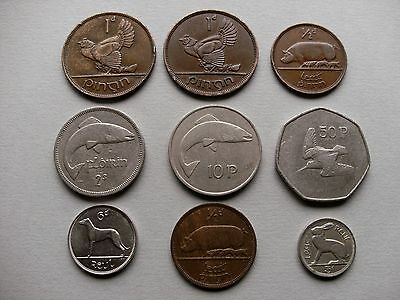 Ireland (Eire) - Nine Coins with Various Dates and Denominations.