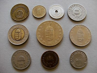 European Coinage - Ten Hungary Coins with Various Dates and Denominations.