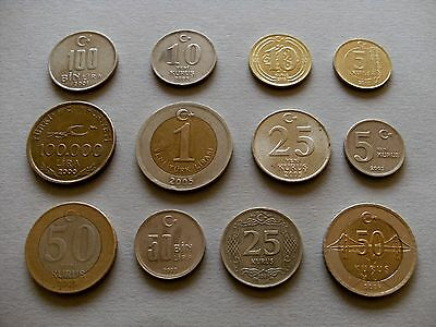 Turkey Coinage - Twelve Coins - with Various Dates and Denominations.