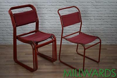 Vintage Industrial Red Cox Canvas Metal Stackable Cafe Bar Chairs 17 AVAILABLE