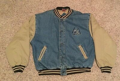 Rare VTG Mickey Mouse Disney Quilted Insulated Denim Bomber Jacket Mens XXL