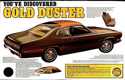 Vintage 1971 Plymouth Gold Duster Car & Old West Coin Brochure / Literature