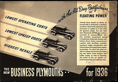 1936 Plymouth Business Models Car Brochure / Sales Literature