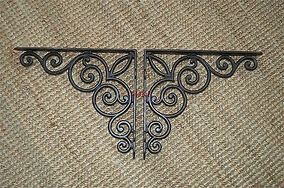 A pair of large Gothic scroll brackets shelf bracket shelving cast iron WH49AL29