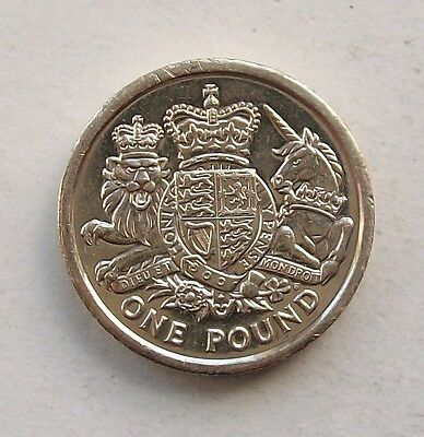 British, 2015 Royal Coat Of Arms £1, One Pound Coin.