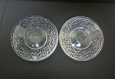 "Pair Orrefors Sweden ""discus"" Mid-Century Heavy Crystal Candle / Votive Holders"