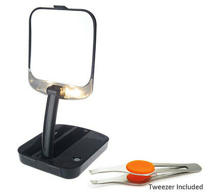 LED Lighted Compact Travel Mirror 10x Magnifying with Stainless Steel Tweezer