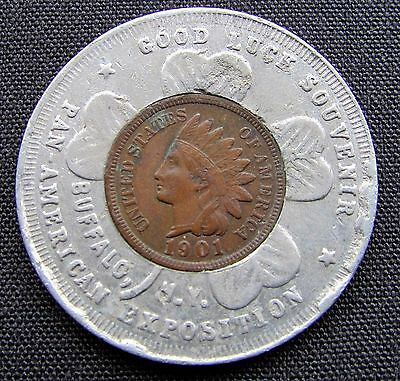 1901 Pan-American Exposition Encased Indian Head Cent #2 - Lucky Piece