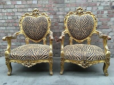 Pair Of Carved Framed French Louis Style Rococo Design Giltwood Fauteuils