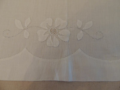 Antique Vintage French Curtain Panel White Cotton, hand made beautiful embroider