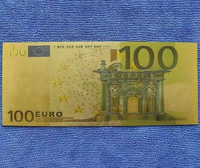 100 Euro Bank Europe Exercises and Training Coloured 24K Gold Foil Paper Money