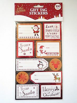 XMAS GIFT TAGS STICKERS 100 PACK Santa Reindeer Snowman Wrapping Paper Presents