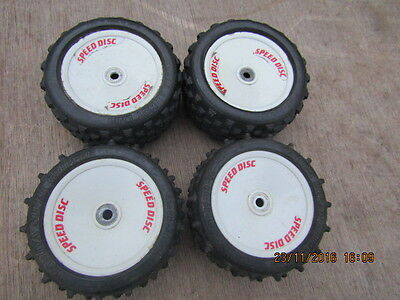 Tamiya Manta ray set 4 wheels and tires vintage  1/10 scale