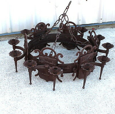 As We Have Herd Rusty Gold As Found 12 Count Candle Iron Chandelier