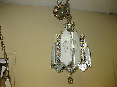 1930s Deco Cast Metal Slip Shade Hanging Pendant