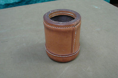 ribbed camel tan vintage leather dice cup/shaker