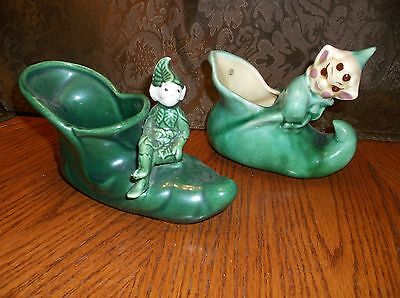 Two (2) Old Antique Shoes, With Cute Elfs
