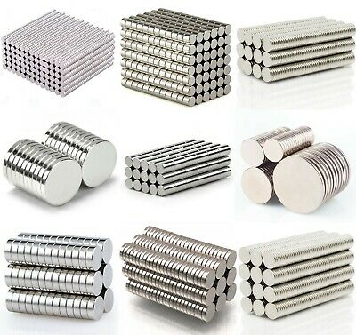 small & large N35 NEODYMIUM MAGNETS ~ 1mm, 2mm, 3mm Thick ~ Rings Cylinder Discs