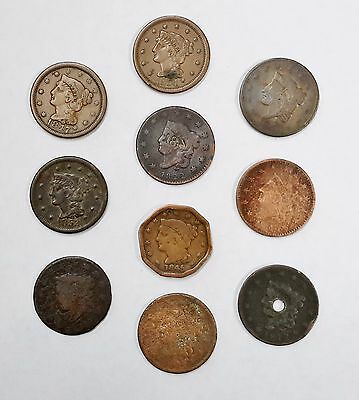 Lot of (10) US Large Cent Coins, 1800s Coronet, Braided Head