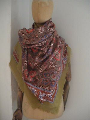 Vintage David Evans paisley print large wool shawl
