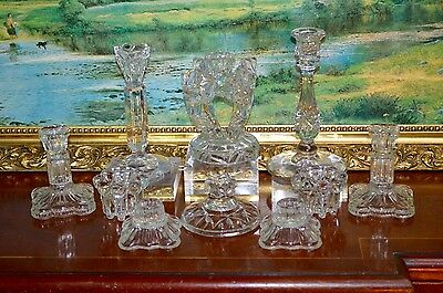 10 Vintage Cut Press Glass Candlesticks Wedding Table Florist Job Lot 5cm-20cm