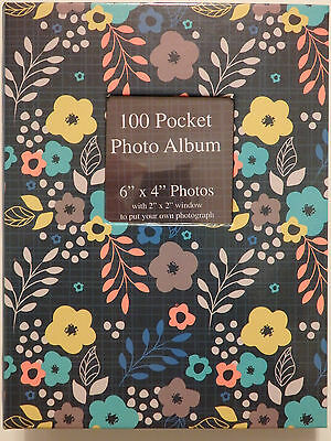 "100 Pocket Photo Album with Slip-in Pages & Cover Photo Window ""Floral"" 6"" x 4"""