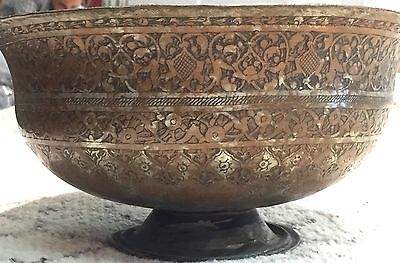 Classic Copper - 16-17th Century Persian Safavid Tinned Wine Bowl -  Engravings