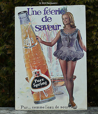 Vintage 1960s PURE SPRING Soda Advertising Cardboard SIGN Pretty Sexy Girl 22x32