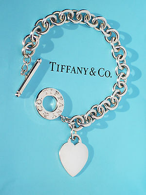 Tiffany & Co Sterling Silver Heart Tag Charm Toggle Bracelet