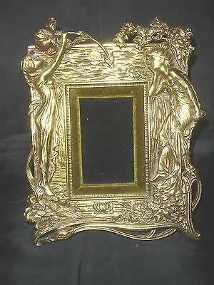 Antique Standing Brass Picture Frame - Art Nouveau by Beatrice, 1914
