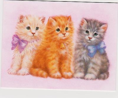 Lot Three 3 Greeting Cards Kittens Adorable Unused w envelops Note Writing