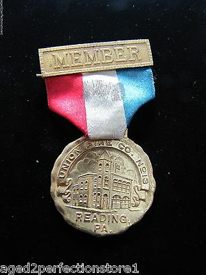 Antique Union Fire Co No 13 Reading Pa Medallion Medal early 1900s era Ornate