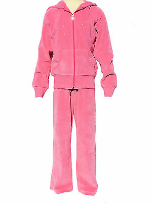 Childrens Velour Tracksuits Girls Diamante Sparkle Hoody Joggers Pink Age 7 - 8