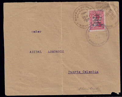 Colombia stamps 1919 Airmail 2c 1st aerial service cover + cert (C1) VFU