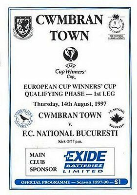 1997/8 Cwmbran Town v National Bucuresti, ECWC, PERFECT CONDITION