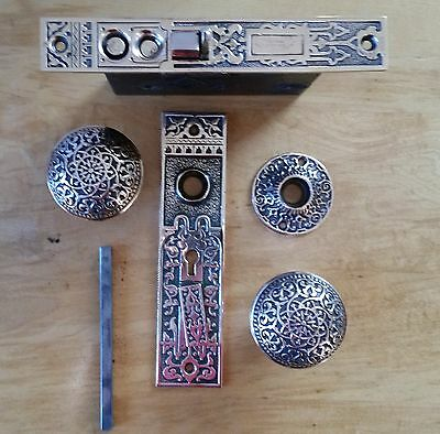 Antique Vintage Ornate R H Co  Mortise Lock Plates And Door Knobs