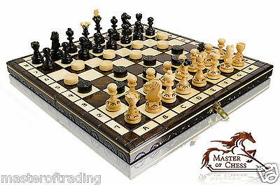 "14"" Classic Wooden Chess And Draughts/drafts Set With Burnt Decorative Ornaments"