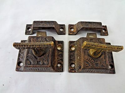 Pair of Vintage EASTLAKE T-Handle Cast Iron w/ Bronze Cabinet Latches w/ Keepers