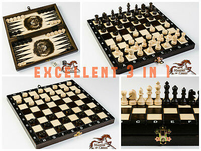 SUPERB 3in1 WOODEN SET OF BACKGAMMON, CHESS & DRAUGHTS 28 x 28 - HAND CRAFTED