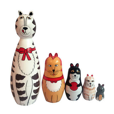 5Pcs/Set Hand Painted Cats Animals Wooden Charming Russian Nesting Dolls