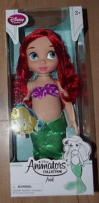 Disney Store The Little Mermaid Animator Doll Ariel Toddler Flounder soft toy
